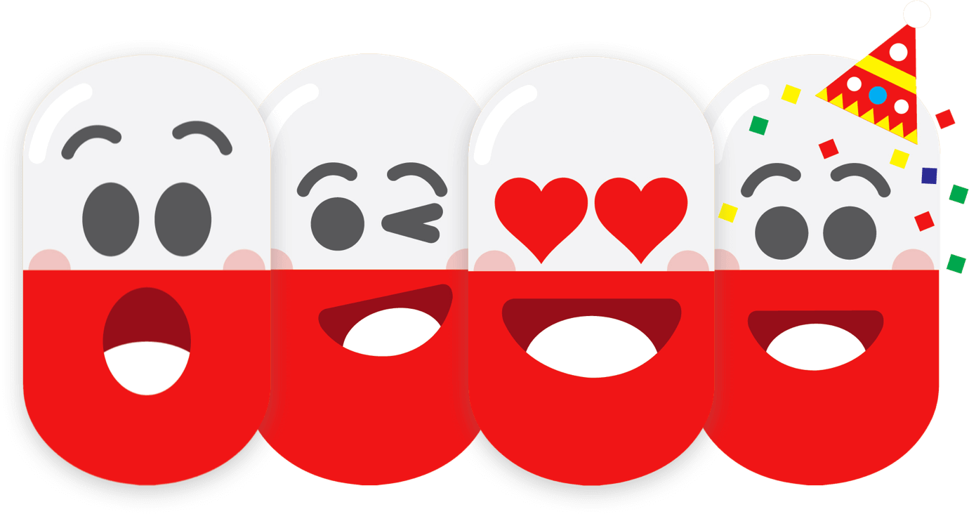 colorful illustraton of surprised, winking, loving, and happy pills, by JCarlos of crowdspring