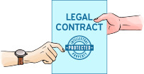 colorful illustration showing that every crowdspring project is protected by a legal contract