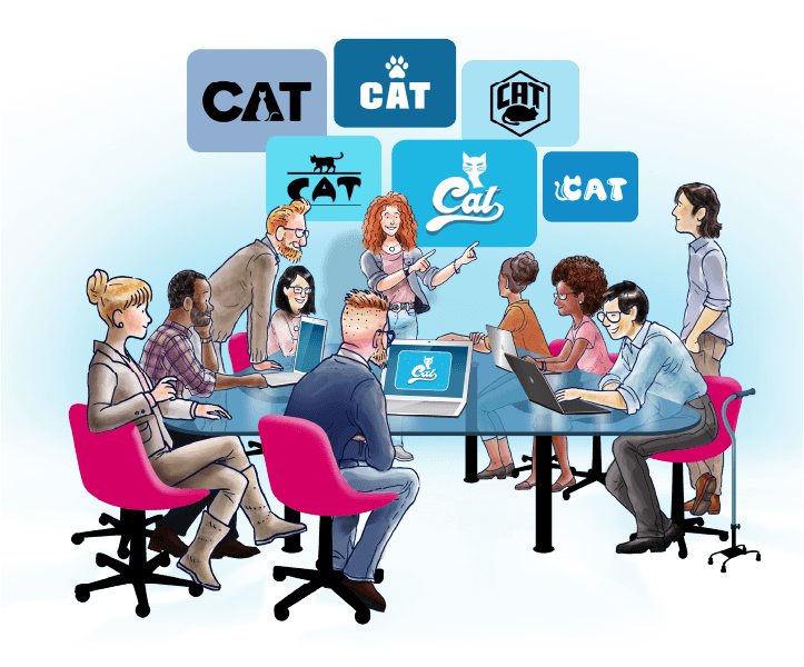 illustration of a group of people around a table looking at logo design concepts on a board