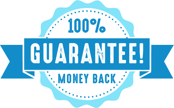 blue illustration showing 100% money back guarantee promise from crowdspring