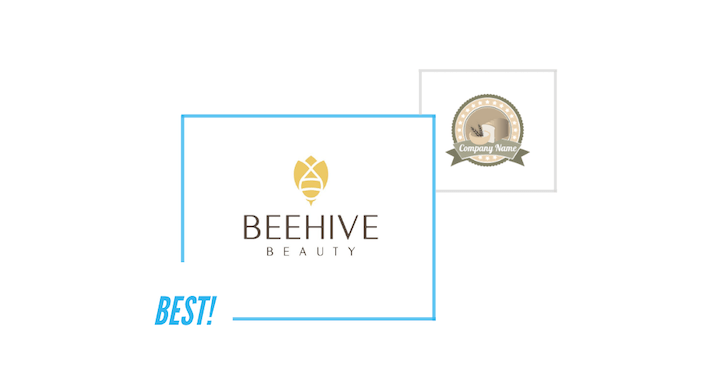 comparing Beehive Beauty logo and a generic logo