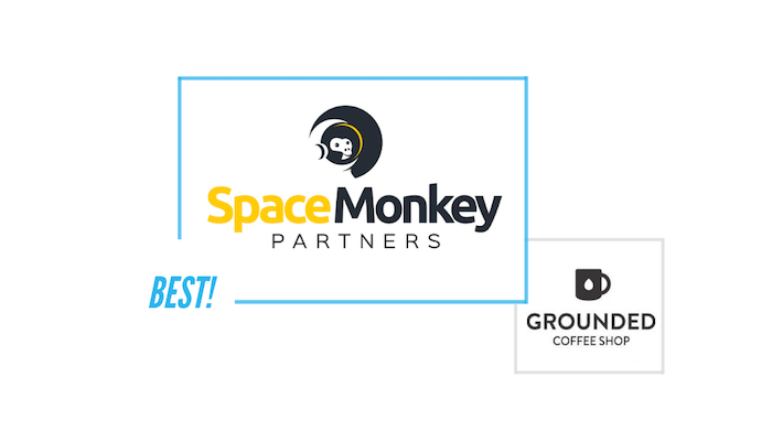 comparing Space Monkey Partners logo and Grounded Coffee Shop logo