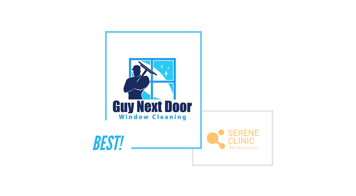 comparing Guy Next Door Window Cleaning logo and Serene Clinic logo
