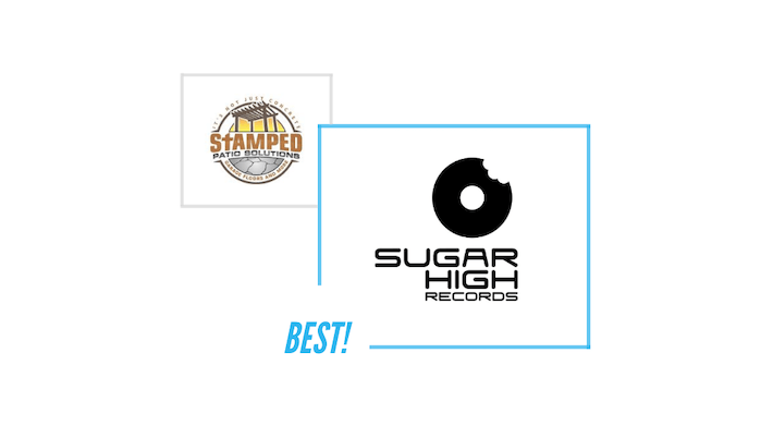 comparing Stamped logo and Sugar High Records logo