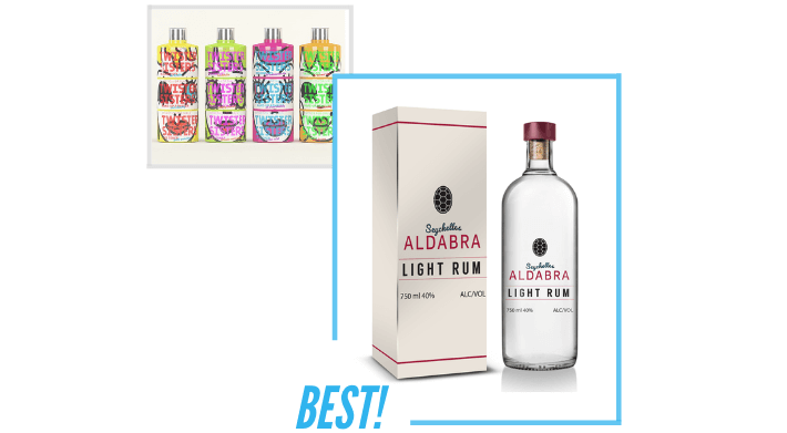 comparing Seychelles Aldabra Light Rum and Twister Sisters product packaging