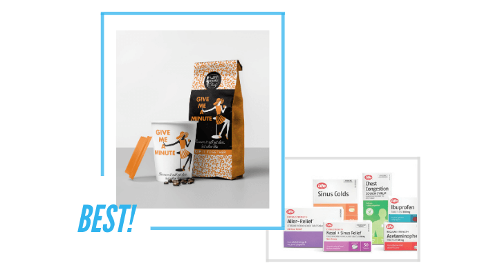 comparing Left Hand Chick Coffee and Life Pharmaceuticals packaging design